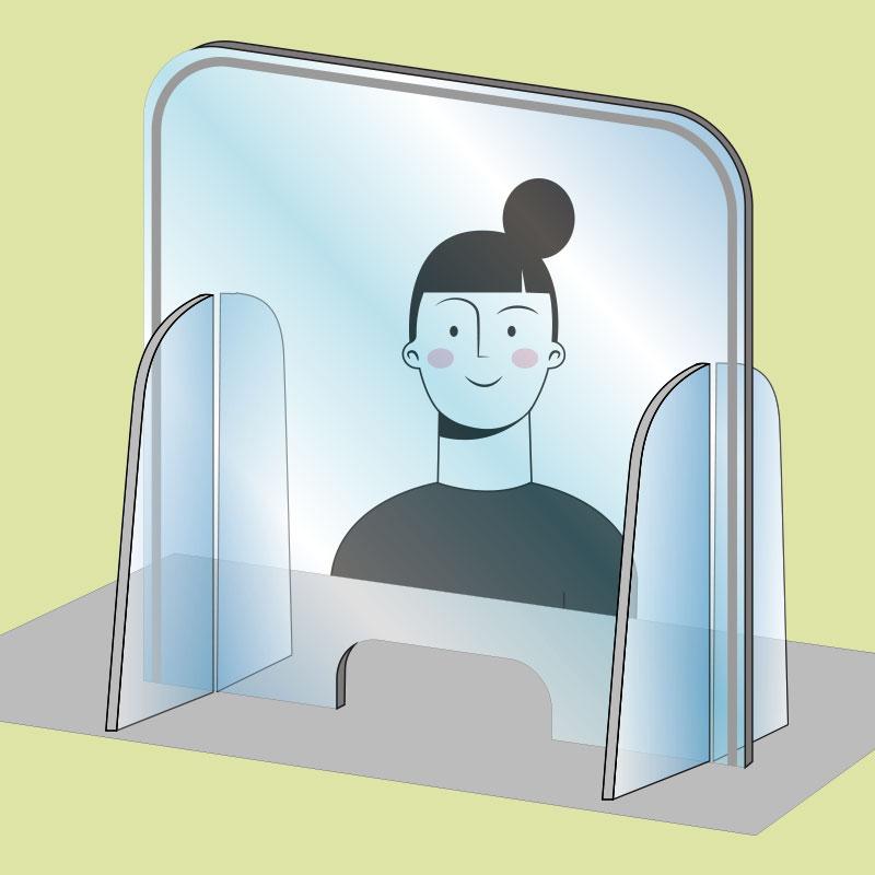 schermo protettivo trasparente con apertura passa documenti
